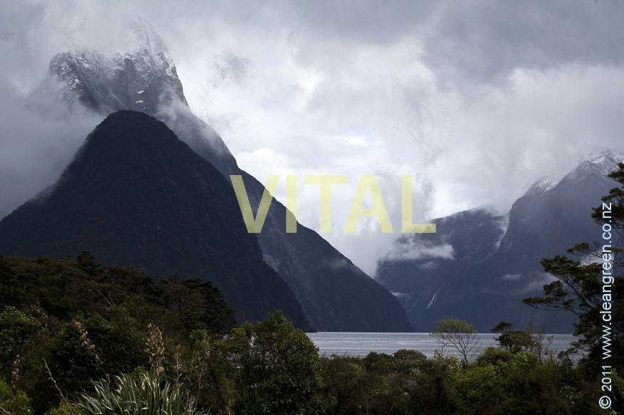 Mist Swirling on Mitre Peak Milford Sound Fiordland National Park