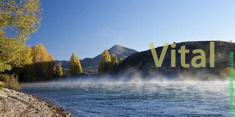 Autumnal mist on the Clutha River near Hallidays Bluff and the Cardrona Confluence