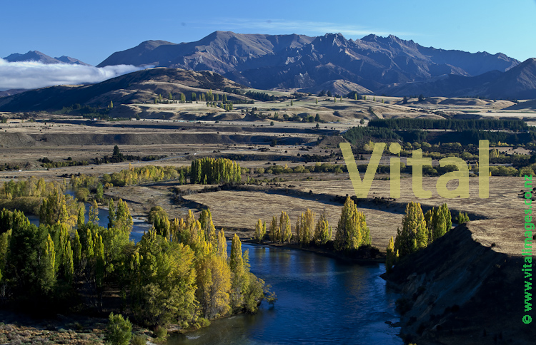 Central Otago  Autumn Landscape Morning Light Clutha mata Au River near the Cardrona Confluence at Albertown & Luggate from Hallidays Bluff River Run